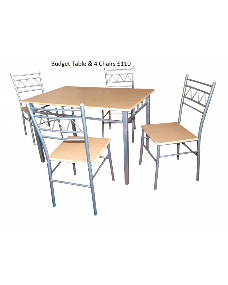 Budget Dining Set & 4 Chairs